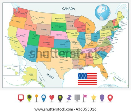 Detailed Political Map USA Including Alaska Stock Vector (Royalty ...