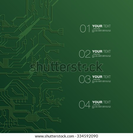 Detailed Printed Circuit Board design with numbers for your content infographics vector stock eps 10 illustration - stock vector