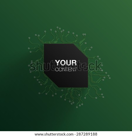 Detailed Printed Circuit Board frame text box background design for your content infographics vector stock eps 10 illustration - stock vector