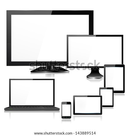 Detailed realistic mobile computer devices laptop, TV, monitor screen, tablet, mini tablet, pad, smartphone - each device individually grouped and on a separate named layers, with reflections, EPS10  - stock vector