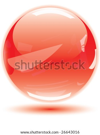 Detailed & realistic red glossy crystal vector ball for your button Or web design. - stock vector