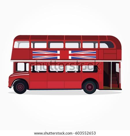 British double decker bus side view