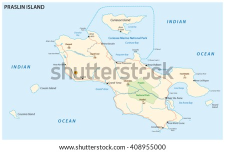detailed road map of the Seychelles island praslin