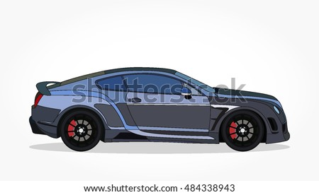 detailed side of a flat dark blue sports car cartoon with black stroke and shadow