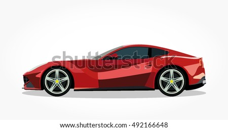 detailed side of a flat red sports car cartoon vector with shadow