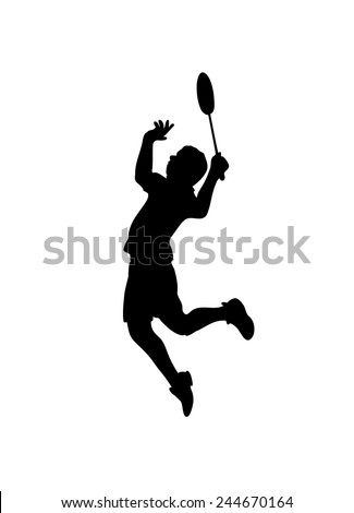 Detailed silhouette of a badminton player. Vector illustration - stock vector