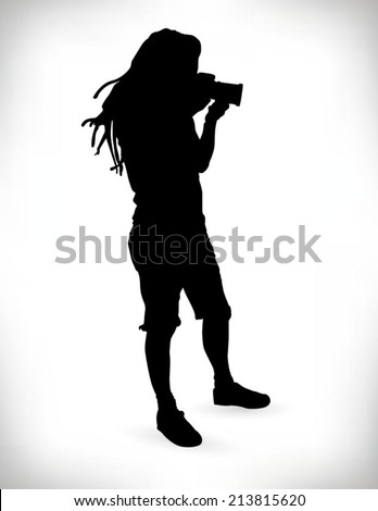 Detailed silhouette of a young photographer with dreadlocks - stock vector