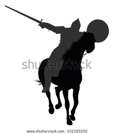 Detailed silhouette of ancient warrior  with sword and shield on horseback. Vector .. - stock vector