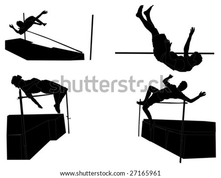 Detailed Silhouettes of Men's High Jump Event