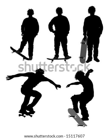 Detailed skateboarder silhouettes