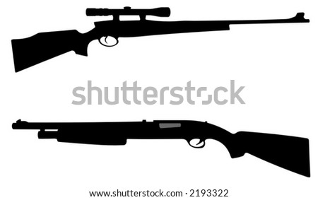 detailed sniper rifle and powerfull pump action rifle - detailed vector illustrations