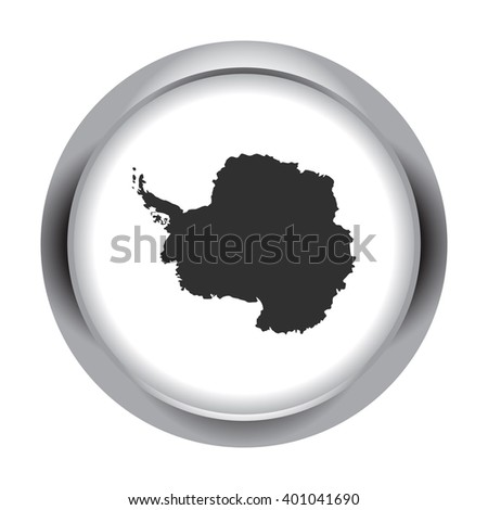 Detailed south pole antarctica continent simple icon on round background - stock vector
