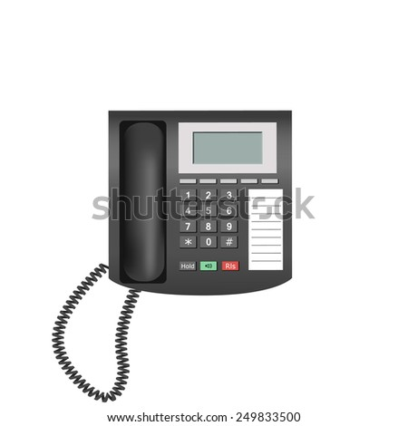Detailed telephone isolated on white background for e-business, web sites, mobile applications, banners, corporate brochures, book covers, layouts etc. Vector eps10 illustration - stock vector