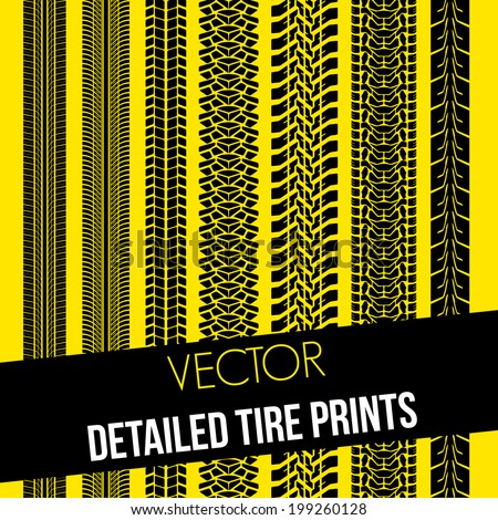 detailed tire prints set, Vector graphic - stock vector