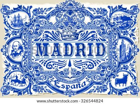 Detailed Traditional Painted Tin Glazed Ceramic Tilework Azulejos Vintage Spanish Tiles - stock vector