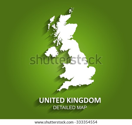 Detailed United Kingdom (U.K.) Map on Green Background with Shadows (EPS10 Vector) - stock vector