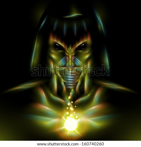 Detailed vector alien assassin character design illustration - stock vector