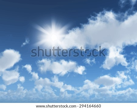 Detailed vector background of a sunny blue sky with clouds