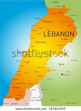 Detailed  vector color map of Lebanon country - stock vector