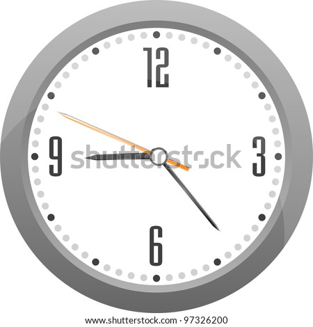 detailed vector gray clock isolated on white - stock vector