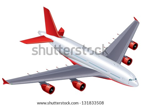 Detailed vector illustration of a commercial passenger airliner.