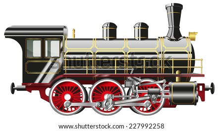 detailed vector illustration of a steam locomotive isolated on white background - stock vector