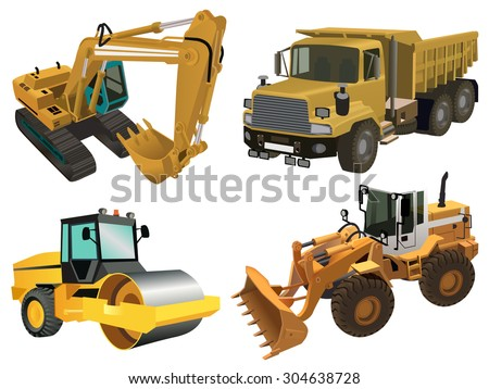 Detailed vector illustration of industrial machines: dozer, truck, crawler, road roller. Can be used for creating infographic illustration, industrial print posters and cards   - stock vector