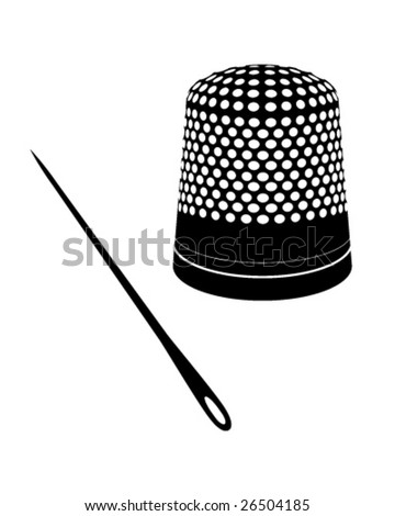 Detailed vector illustration of thimble and needle silhouettes. - stock vector