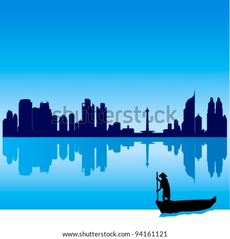 Detailed vector Jakarta silhouette skyline with traditional boat - stock vector