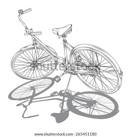 Detailed Vector line drawing of a / Retro Cruiser Bike / Black and white line drawing style of a bike, no meshes no effects no gradients used, Black and white with white editable for color fill shapes - stock vector