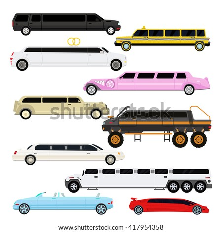 Detailed vector luxury limousine car set and limousine black long car. Vector limousine. Illustration limousine detailed and luxury limousine car. White and color limousine long business car design. - stock vector