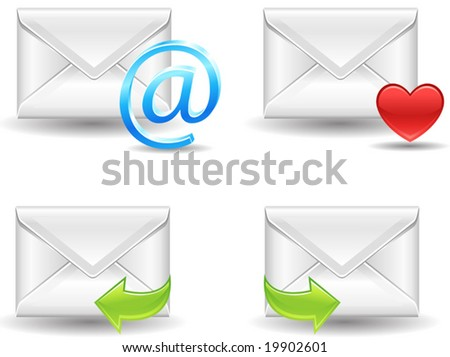 detailed vector mail icons, see also Image ID: 19902598 - stock vector