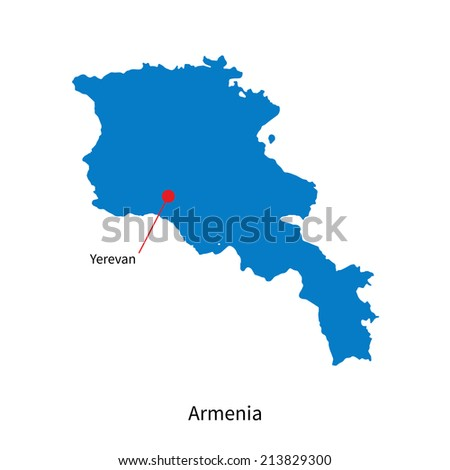 Detailed vector map of Armenia and capital city Yerevan - stock vector