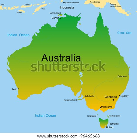 Detailed vector map of australian continent - stock vector