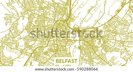 Detailed Vector Map Belfast Gold Title Stock Vector (Royalty Free ...