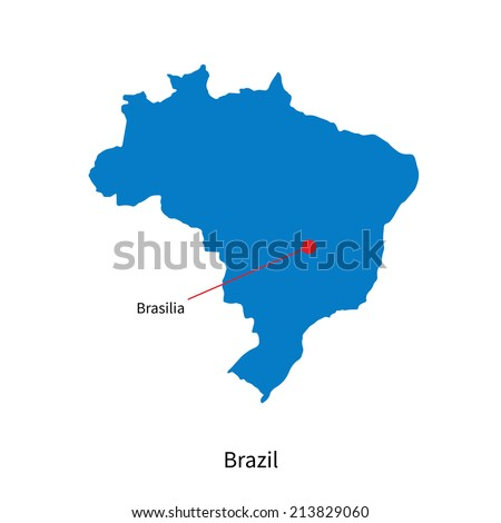 Detailed vector map of Brazil and capital city Brasilia - stock vector