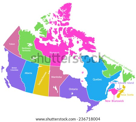 Detailed vector map of Canada  - stock vector