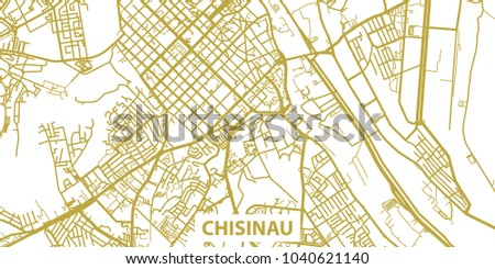 Detailed Vector Map Chisinau Gold Title Stock Photo Photo Vector