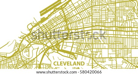 Detailed Vector Map Cleveland Gold Title Stock Vector - Usa map cleveland