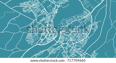 Detailed Vector Map Derry Londonderry Scale 130 Stock Vector ...