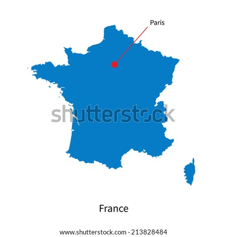Detailed vector map of France and capital city Paris - stock vector