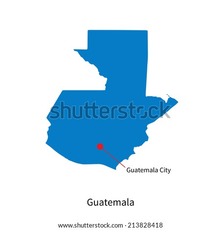 Detailed vector map of Guatemala and capital city Guatemala City - stock vector