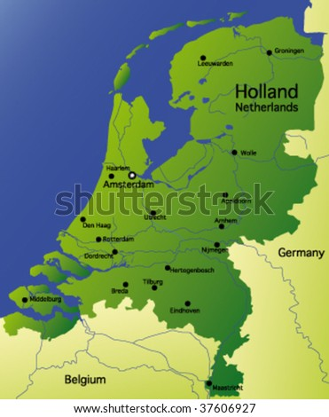 detailed vector map of holland netherlands