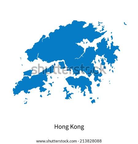 Detailed vector map of Hong Kong - stock vector