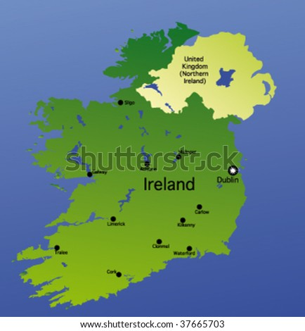 detailed vector map of ireland