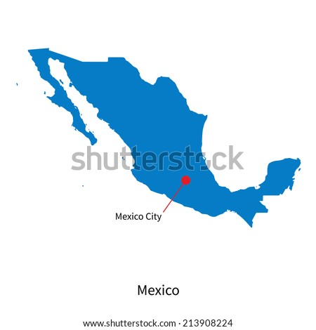 Detailed vector map of Mexico and capital city Mexico - stock vector