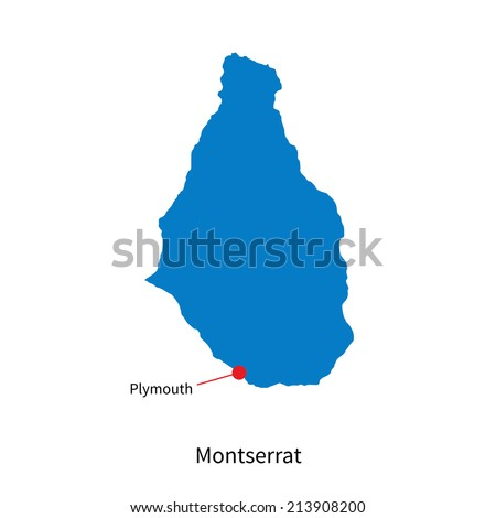 Detailed vector map of Montserrat and capital city Plymouth - stock vector