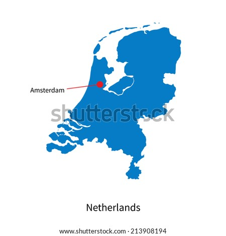 Detailed vector map of Netherlands and capital city Amsterdam - stock vector