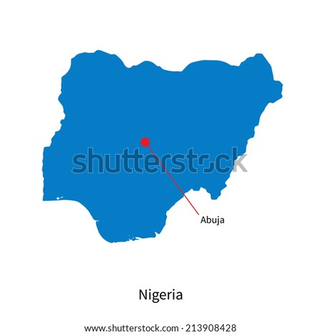 Detailed vector map of Nigeria and capital city Abuja - stock vector