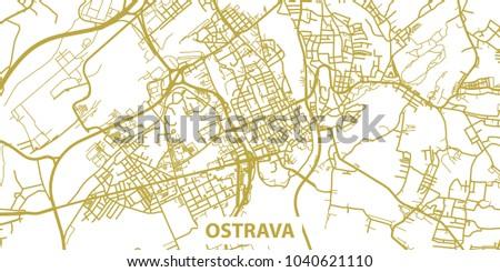 Detailed Vector Map Ostrava Gold Title Stock Photo Photo Vector